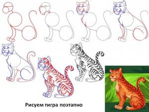 Рисуем тигра поэтапно