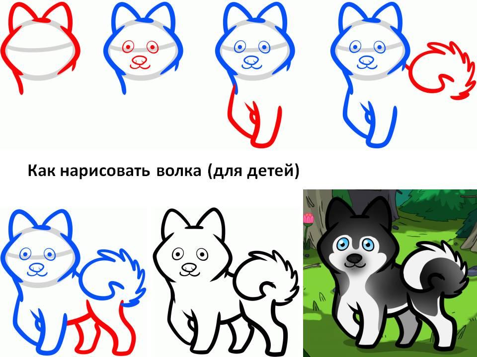 Как нарисовать волка (для детей)