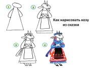 Как нарисовать козу из сказки