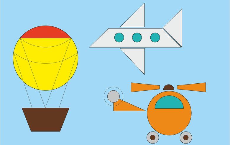 Рисунки из геометрических фигур — задания в картинках и раскраски